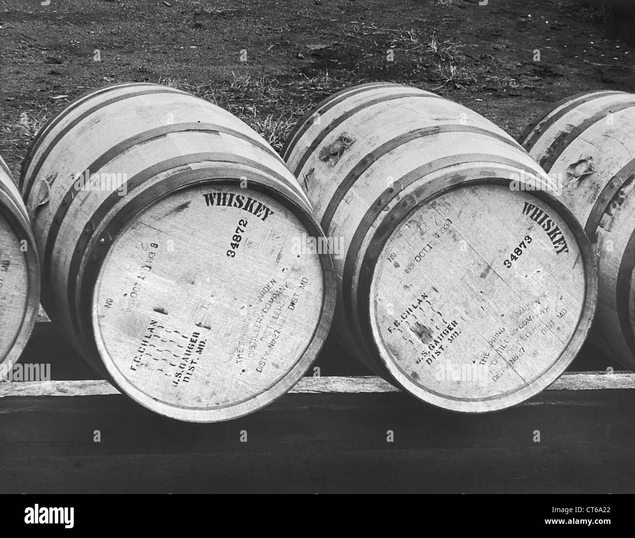 Close-up of bonded whiskey barrels - Stock Image