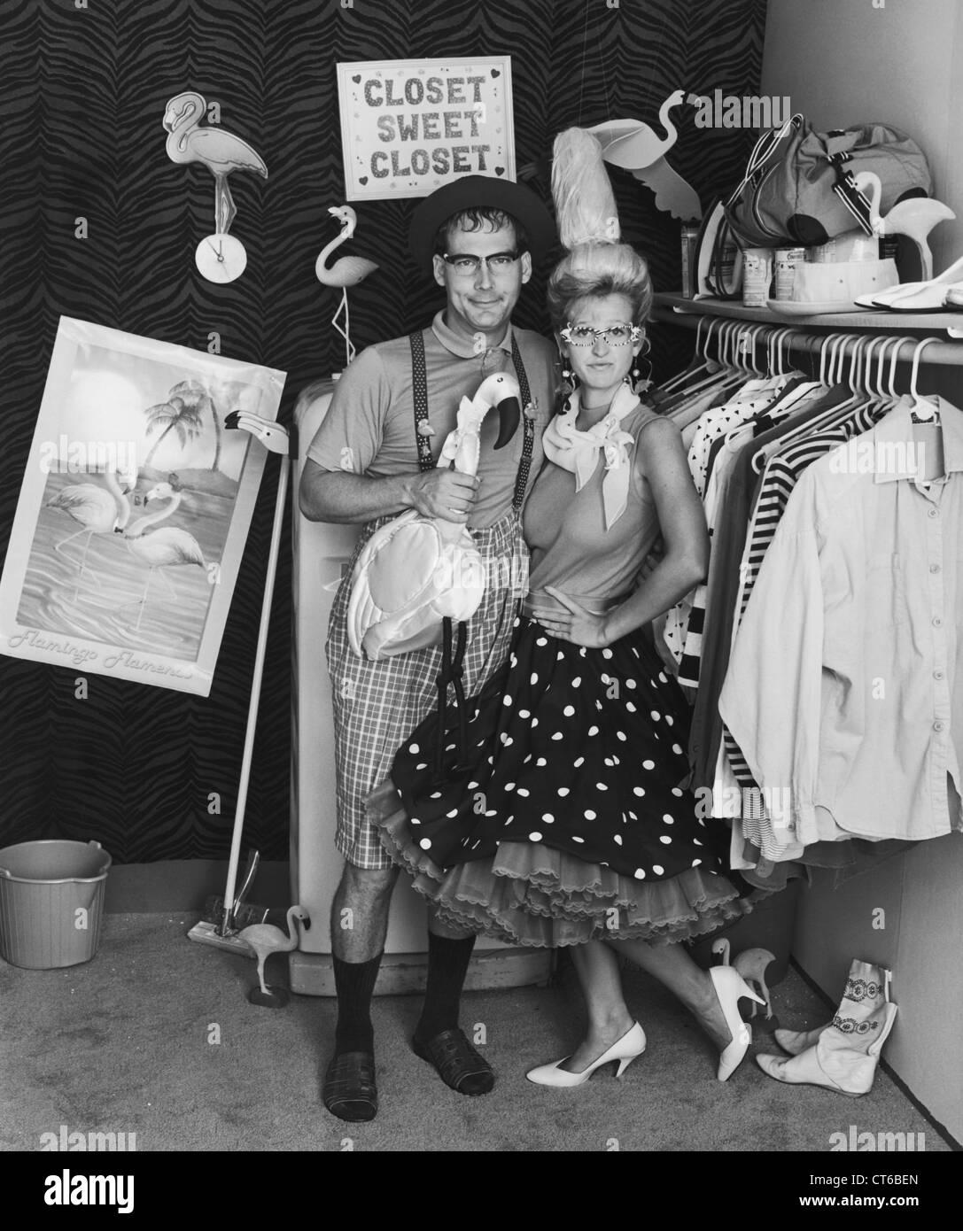 Vintage couple wearing sixties style clothing - Stock Image