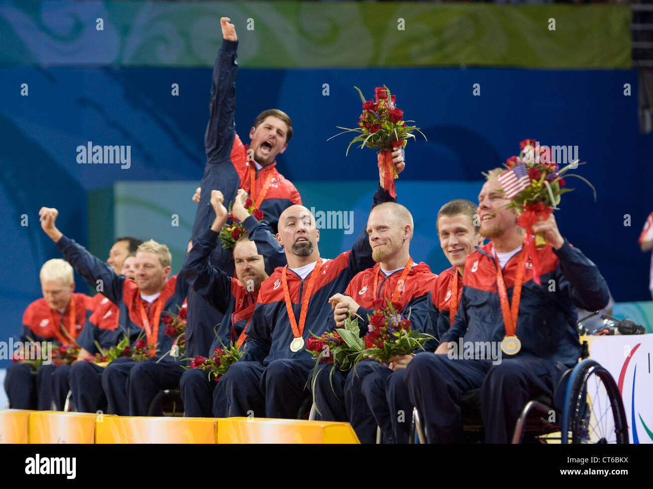 Beijing, China September 14, 2008: Paralympic Games showing the United States wheelchair rugby team after winning - Stock Image