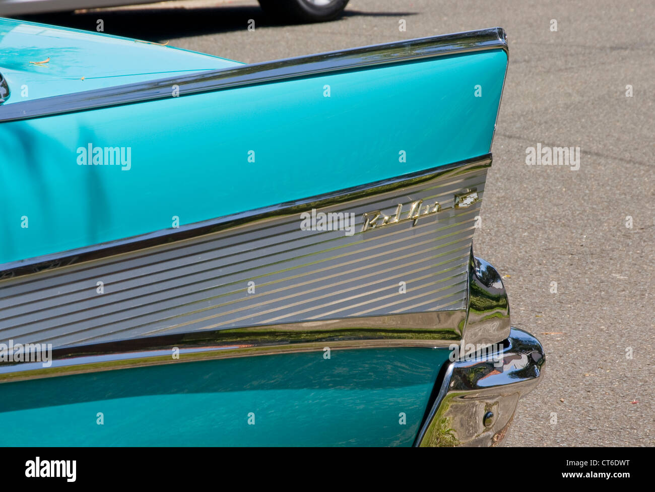 Part of a 1957 Chevrolet Bel Air. This historic vehicle has been immaculately restored. Stock Photo