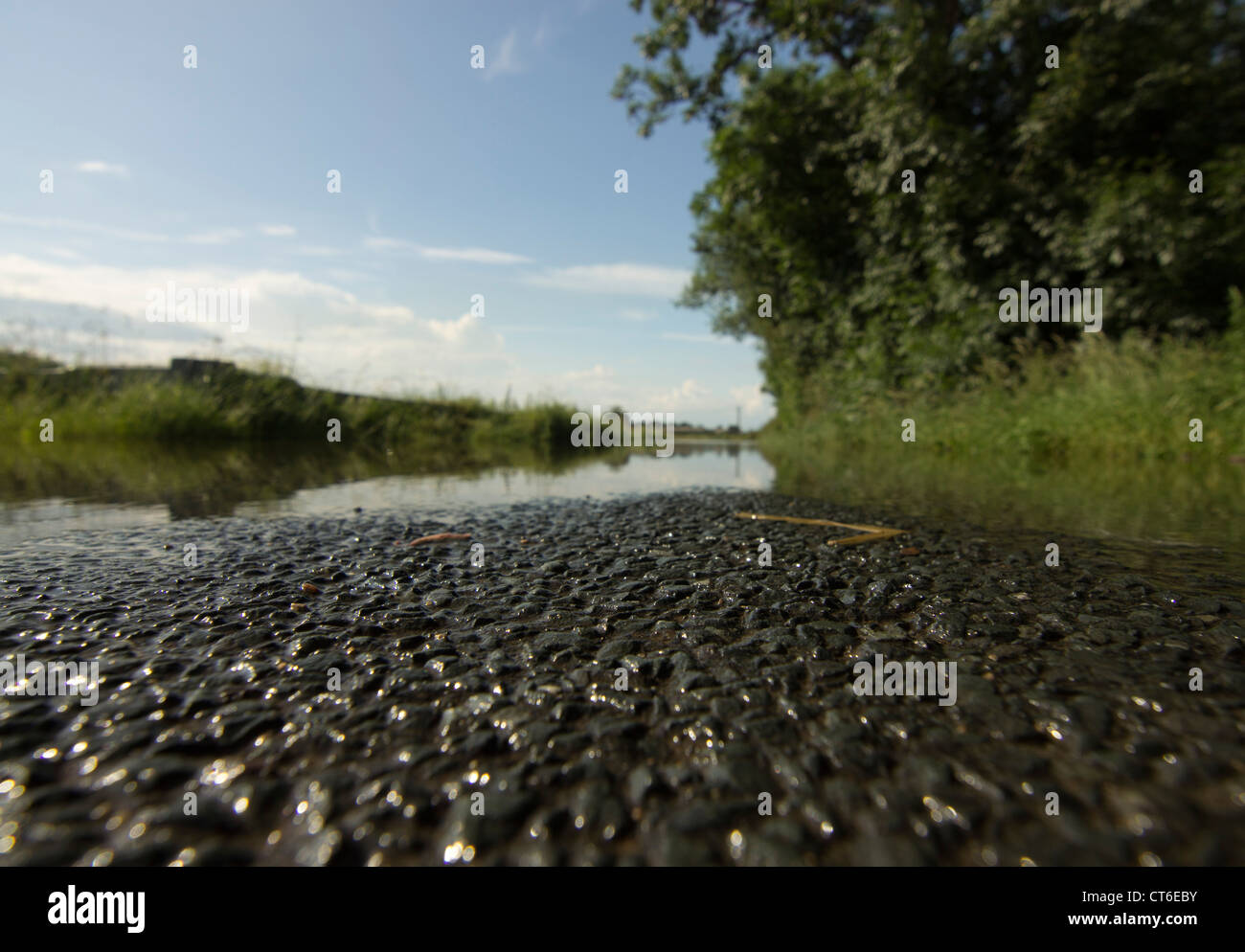 Flood due to heavy rain in the Summer of 2012 at Beal in North Yorkshire - Stock Image