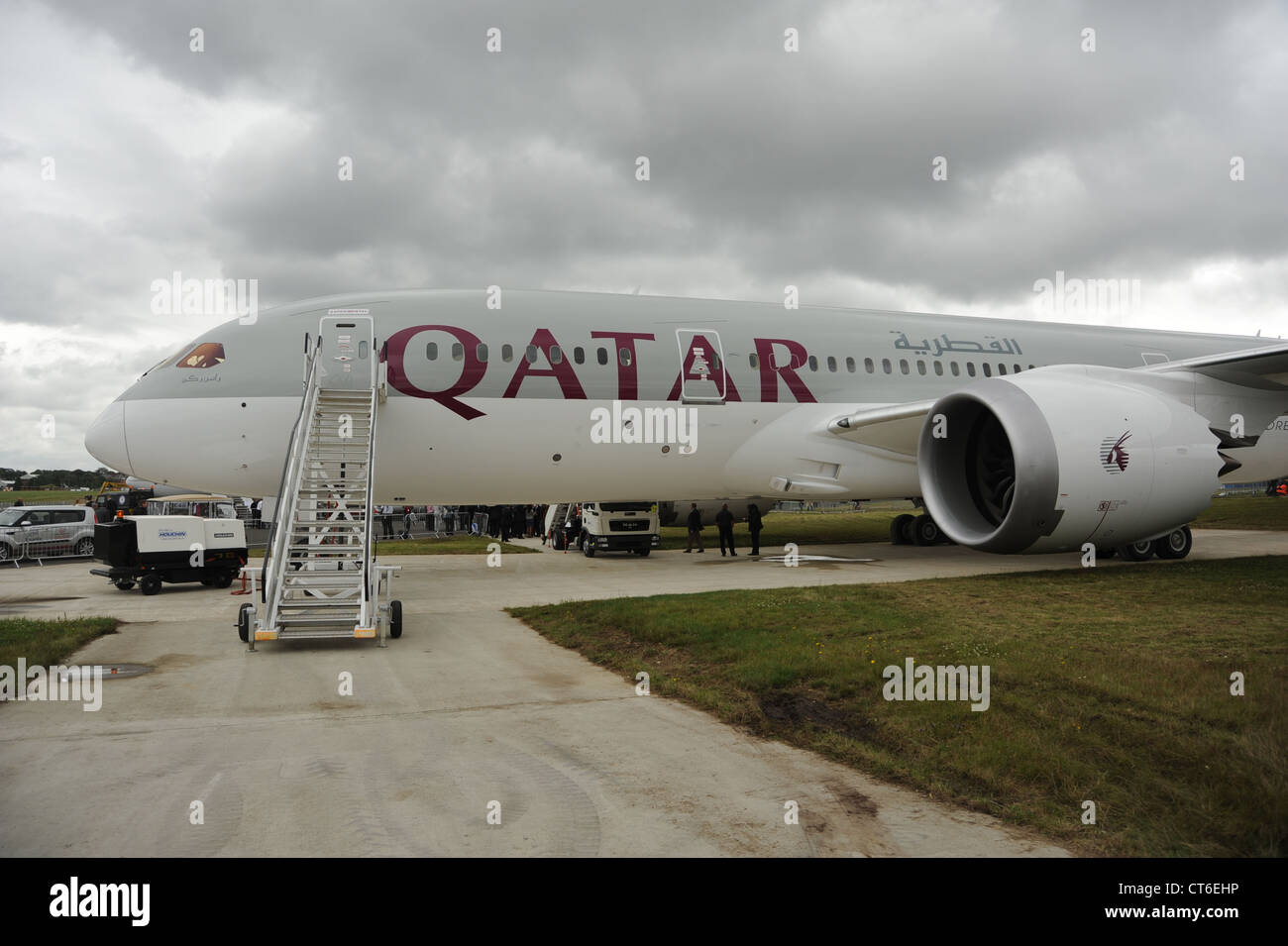 Qatar Airways hopes to fly the first Boeing 787 to Heathrow from August 2012. It is pictured at the Farnborough - Stock Image
