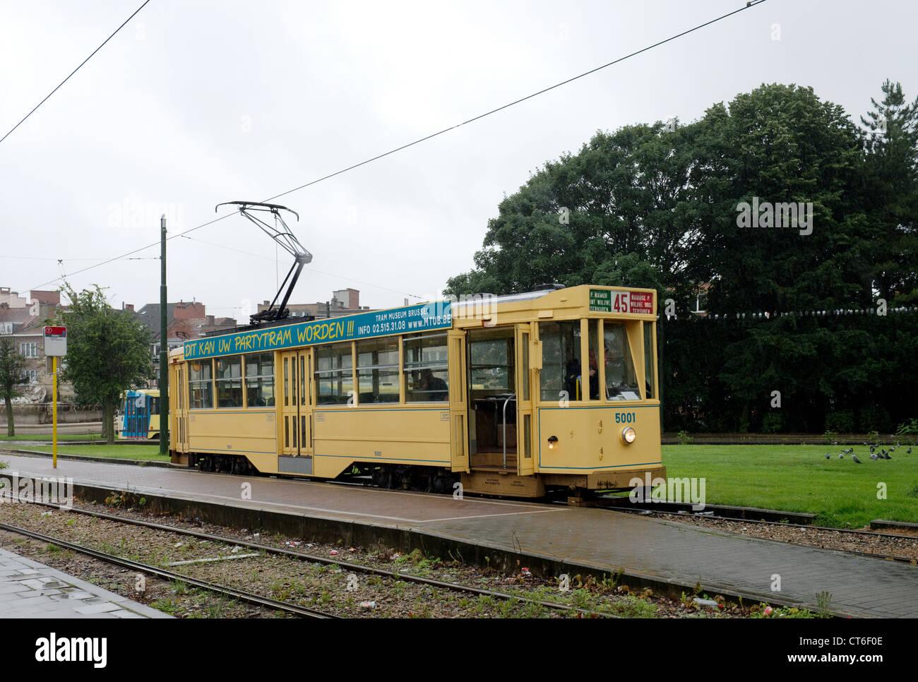 Brussels Vintage Tram No.5001 at Stadion Terminus -1 - Stock Image
