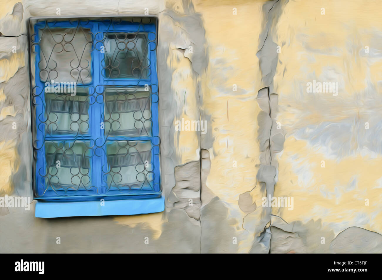 old window on facade of the old house, oil paint effect Stock Photo ...