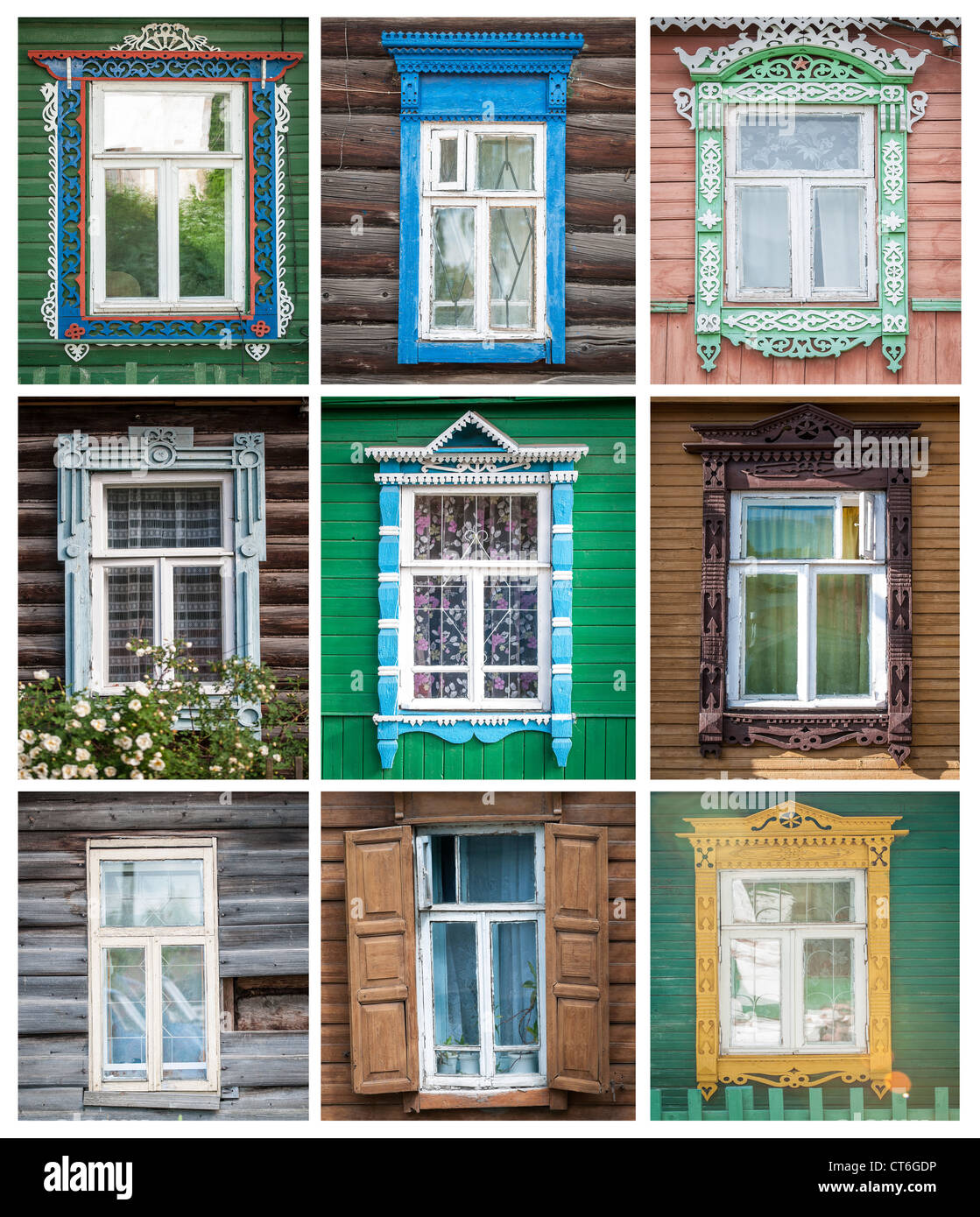 Collage made of different windows of traditional russian