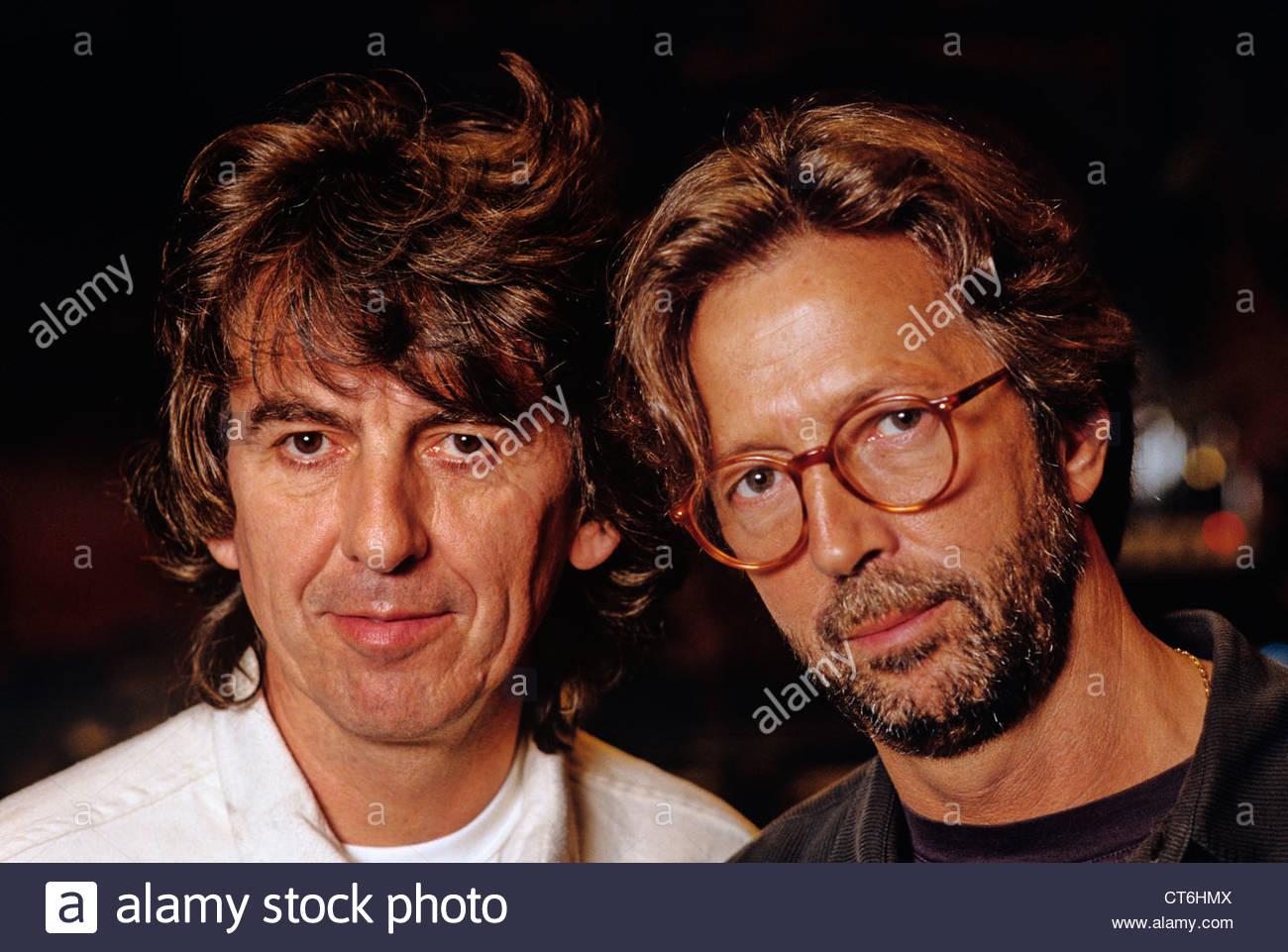 George Harrison and Eric Clapton photographed in London in 1991 - Stock Image
