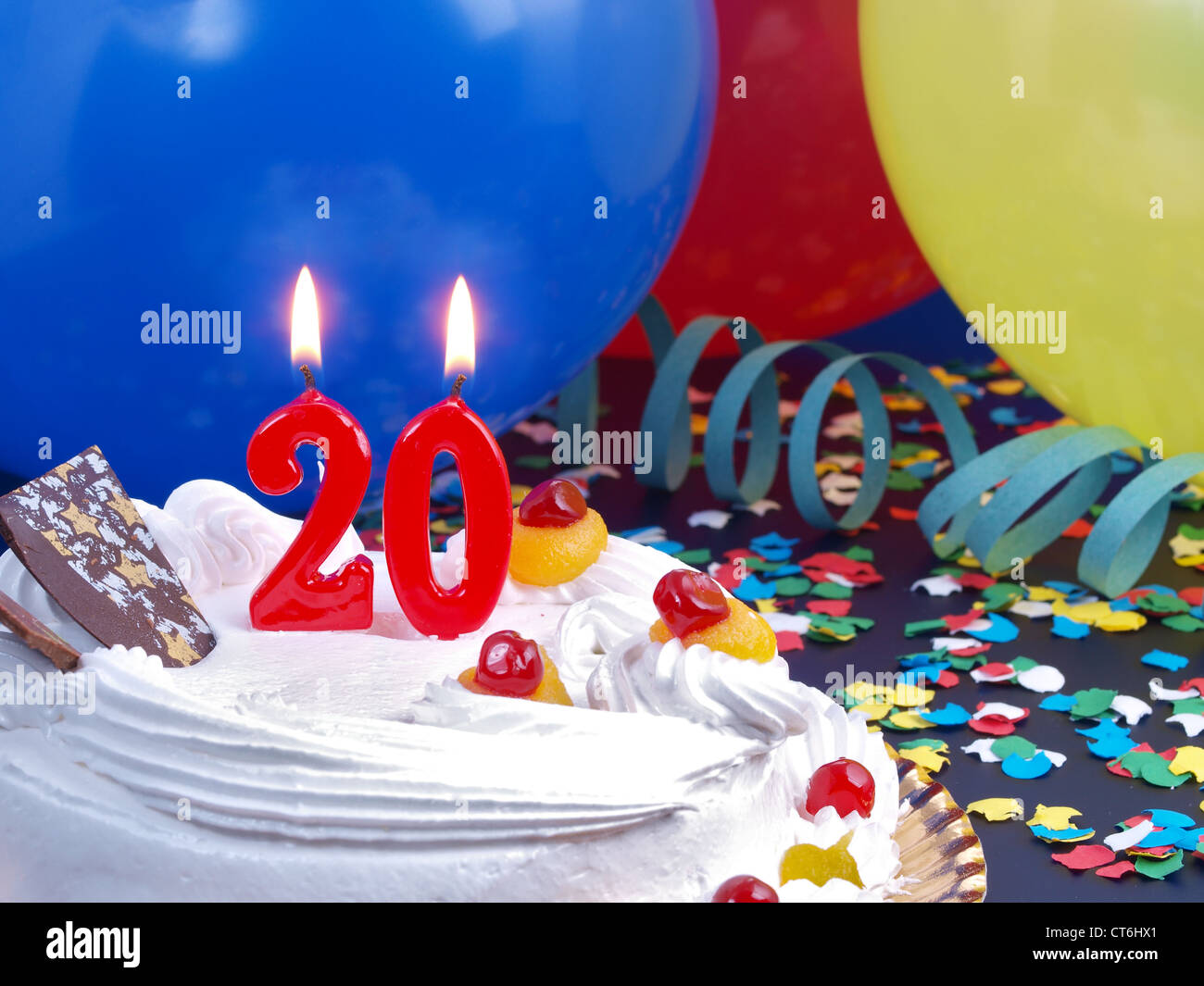Number 20 Celebration Candle Confetti Stock Photos Number 20
