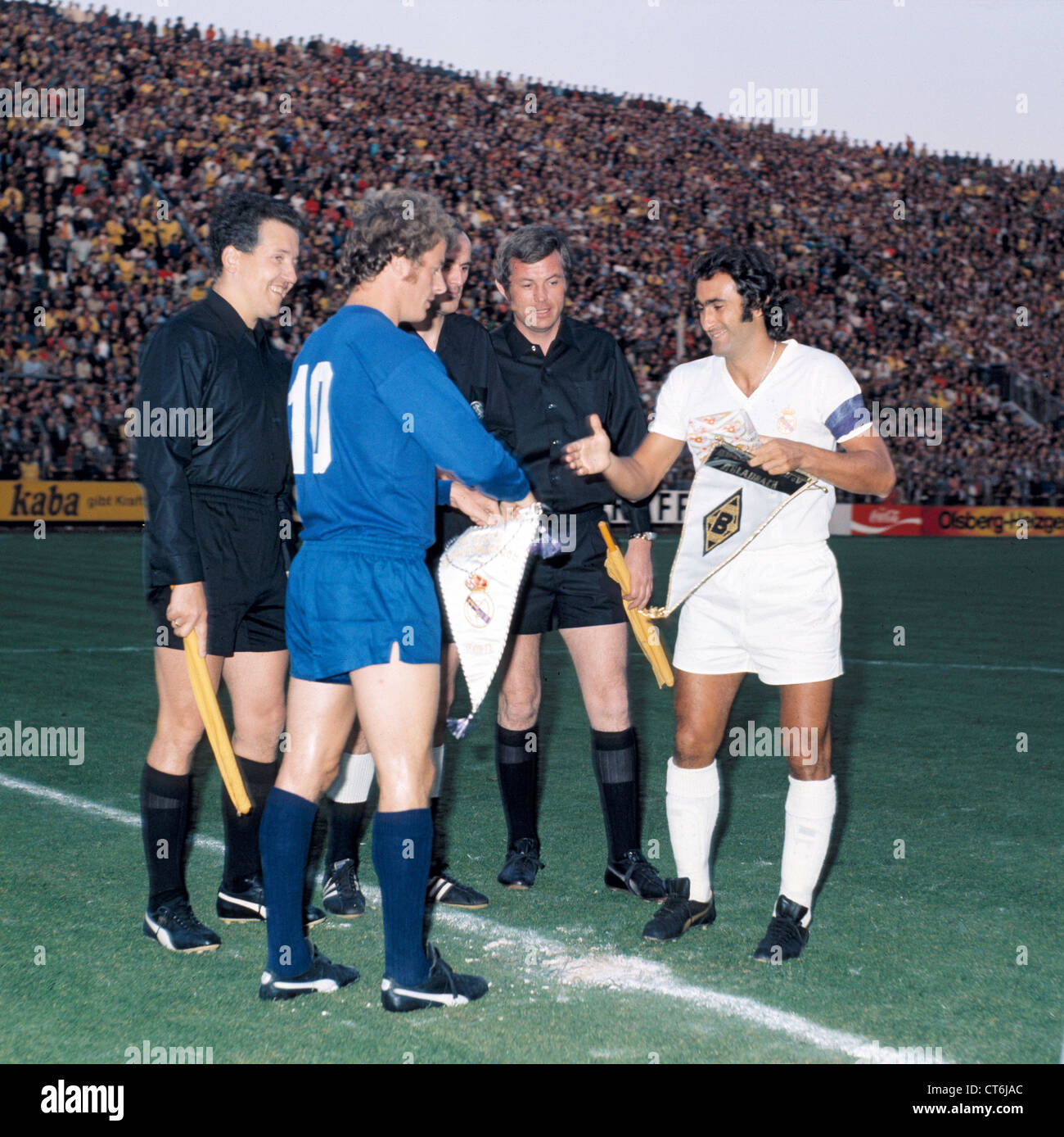 sports football, 1973, Borussia Moenchengladbach versus Real Madrid 4:2, Boekelberg Stadium in Moenchengladbach, - Stock Image