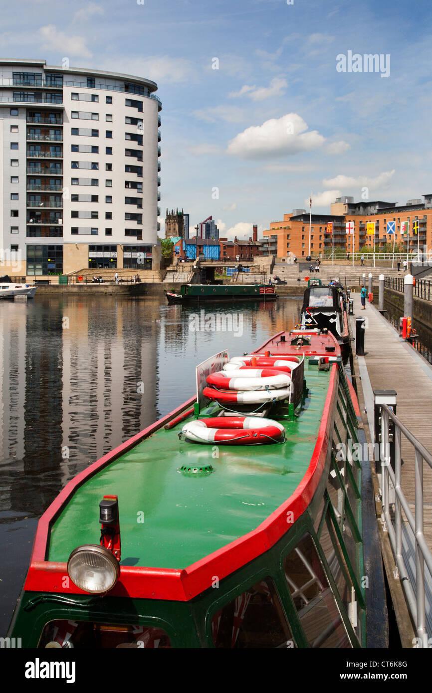 Narrowboat at Clarence Dock Leeds West Yorkshire UK - Stock Image