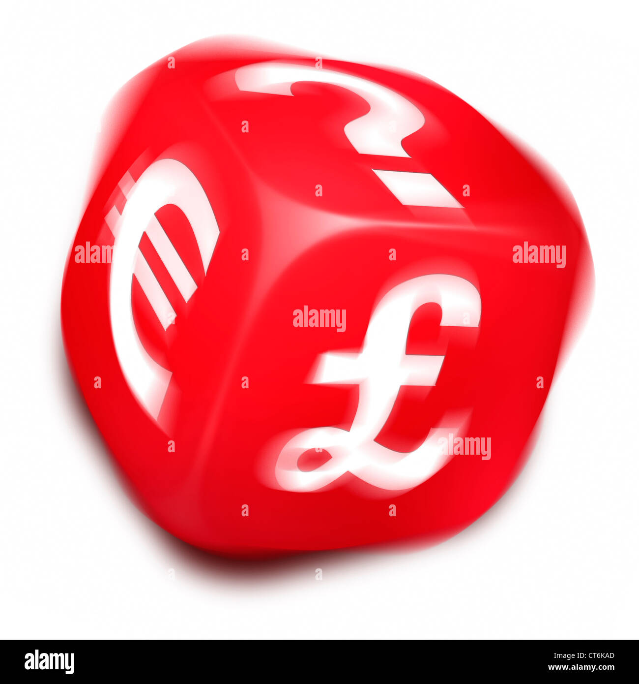 Spinning Red Dice With A Euro Symbol Britsh Pound Symbol And Stock