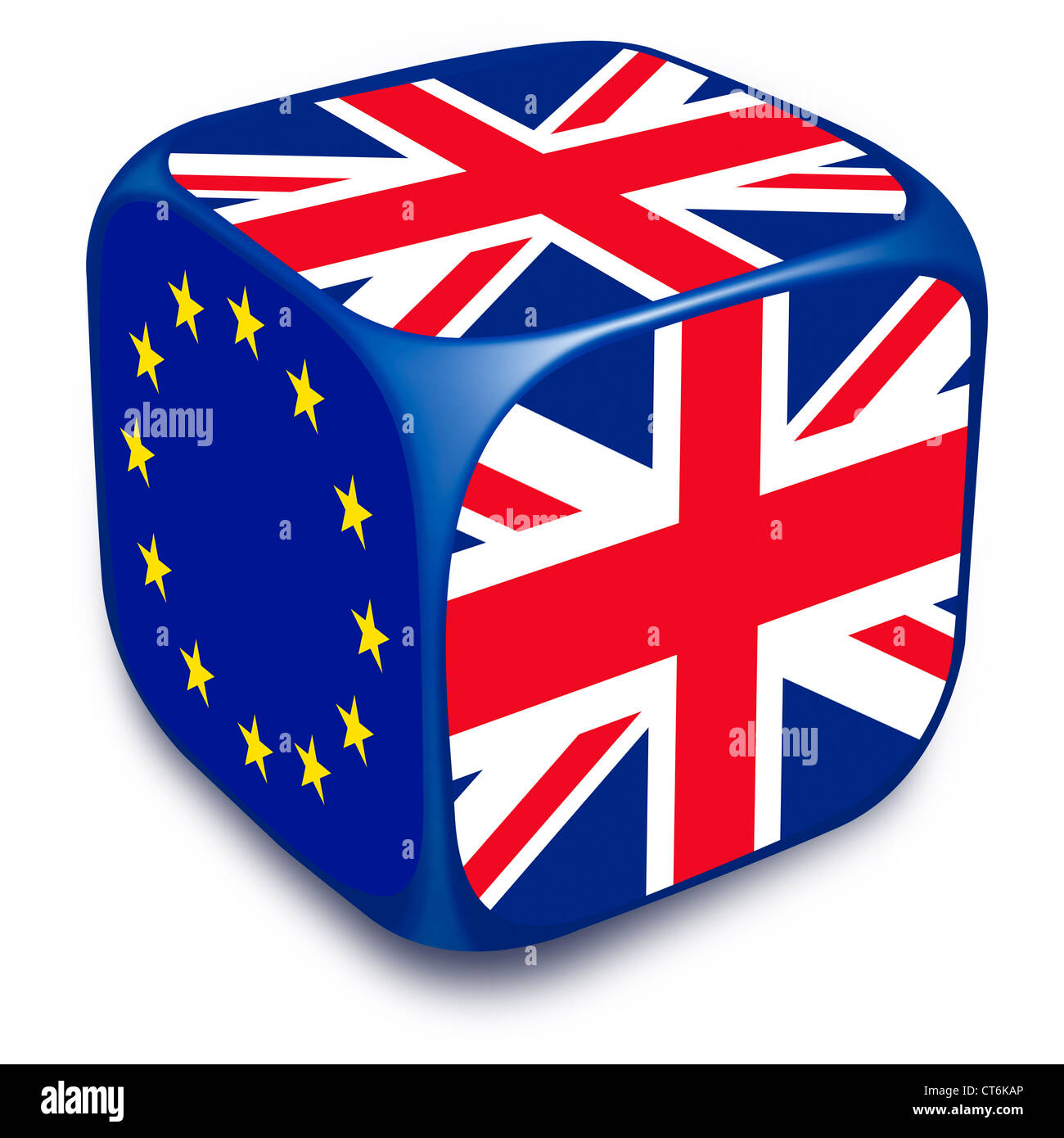 Dice with European Union Flag and UK flags on it's sides - Stock Image