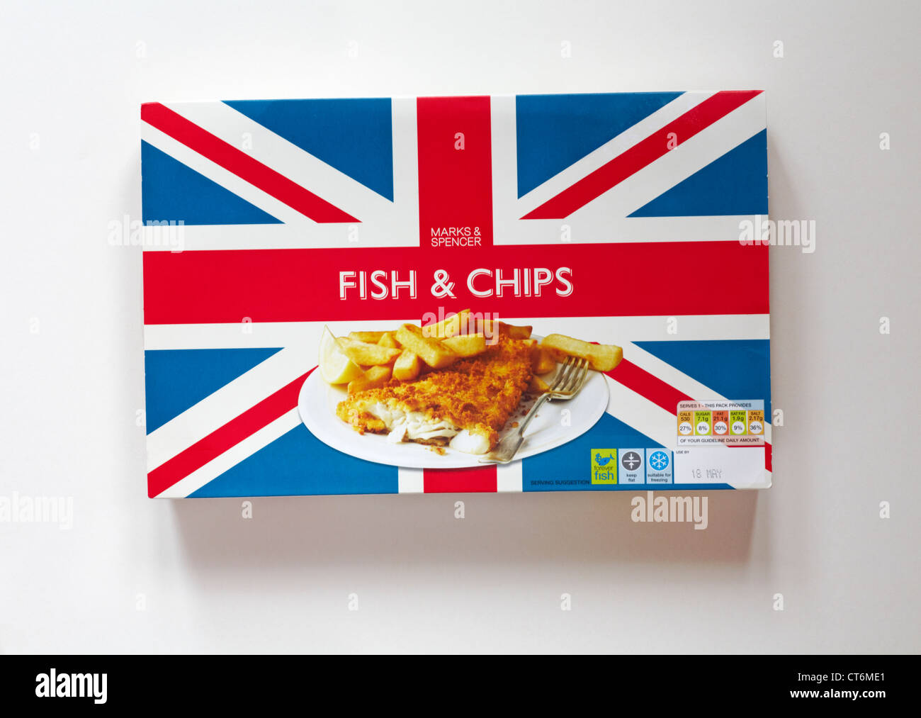 Pack of marks spencer fish chips with union jack for Jack in the box fish and chips