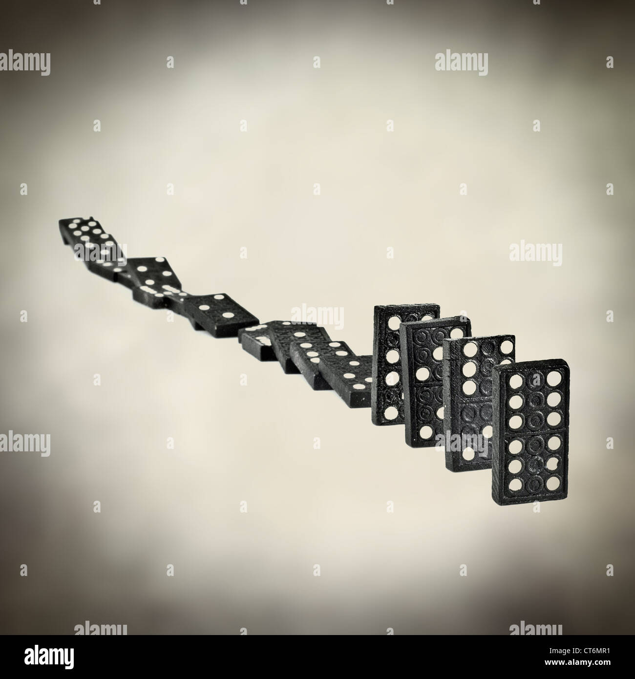 domino effect - Stock Image