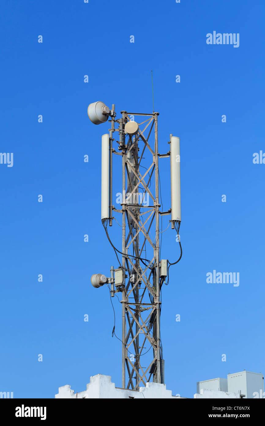 A mobile phone mast, Egypt - Stock Image