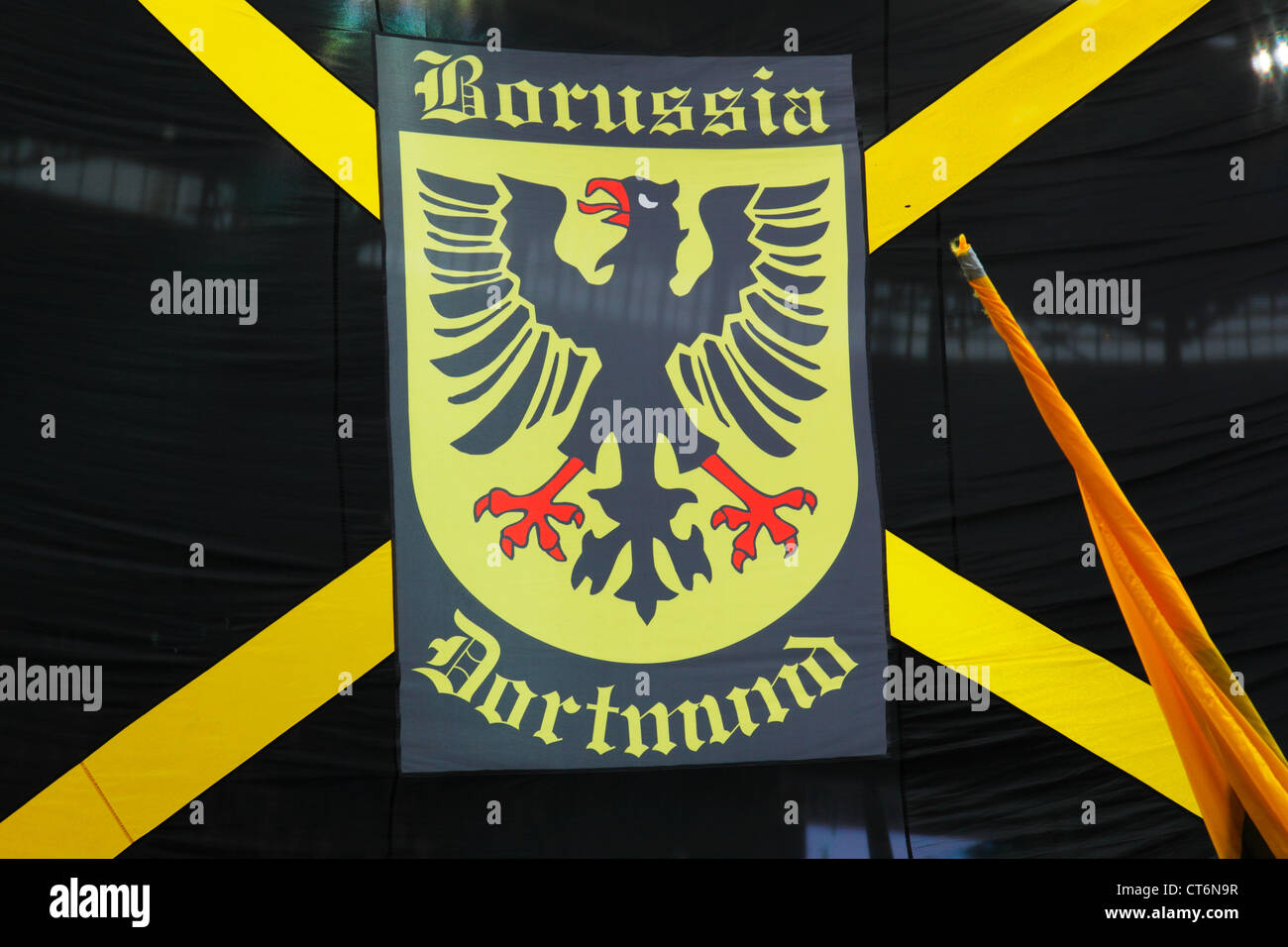 sports, football, Bundesliga, 2011/2012, Borussia Dortmund, club flag with club badge, coat of arms, black eagle Stock Photo