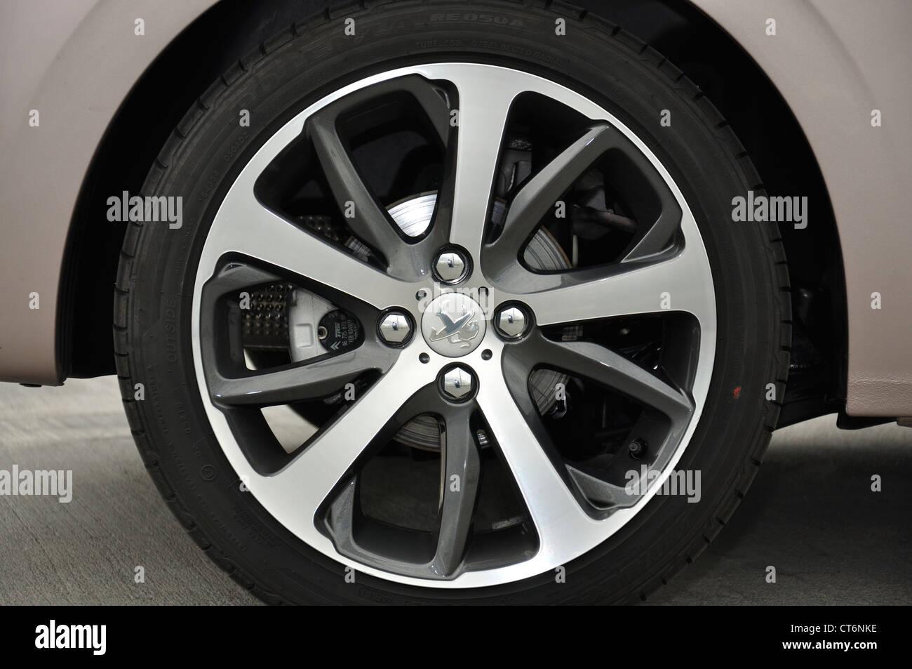 Peugeot 208, car wheel Stock Photo