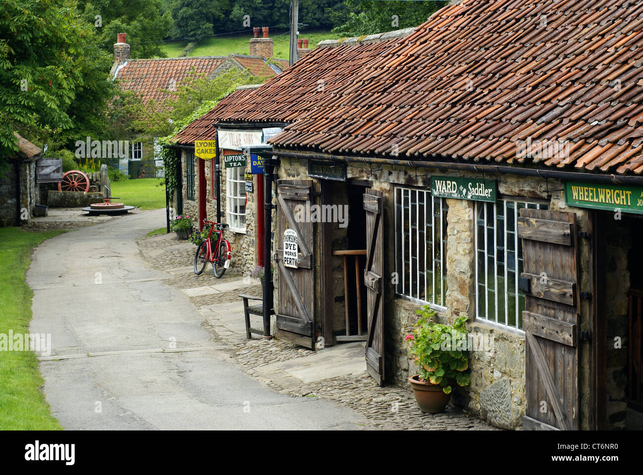 An old street scene at an English folk museum - Stock Image