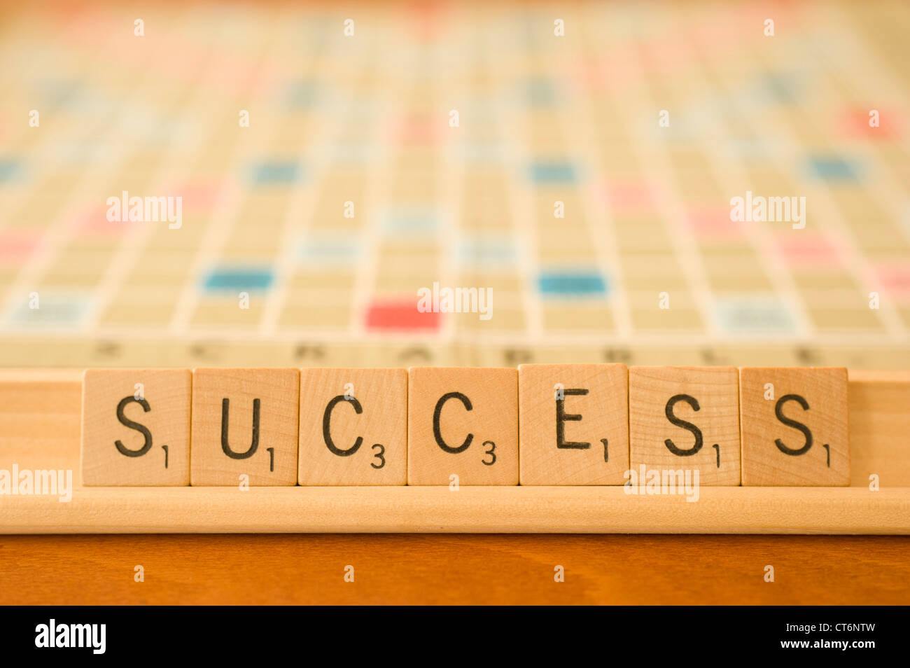 success word spelled with scrabble tiles - Stock Image