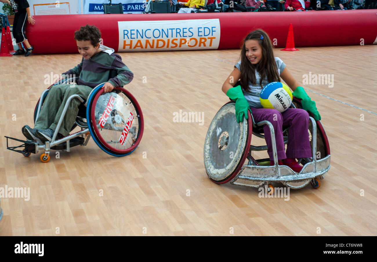 Paris, FRANCE - French Handicapped Children in Wheel Chairs Stock ...