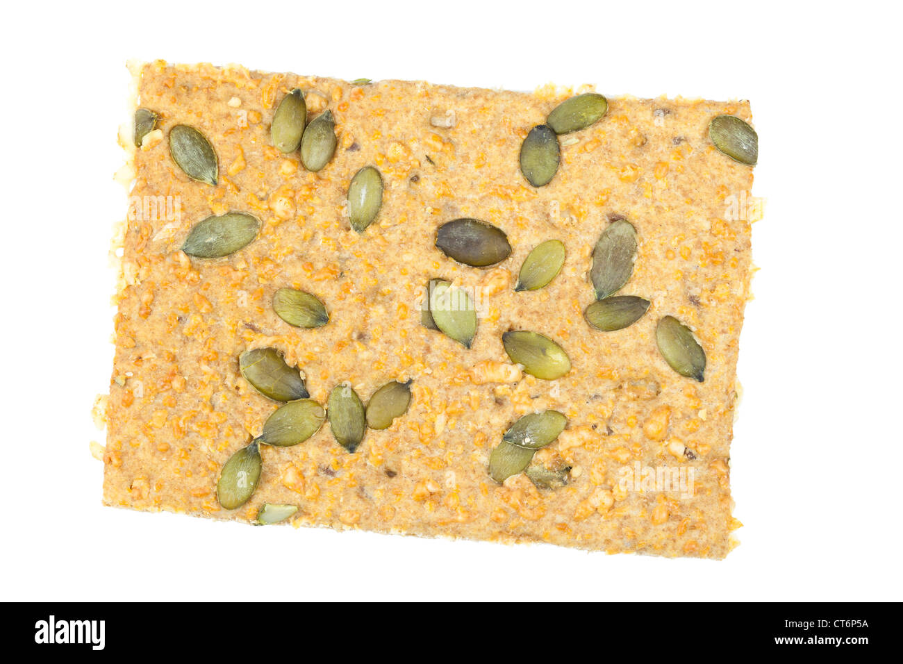 Organic wholegrain crispbread with emmental cheese and pumpkin seeds Stock Photo
