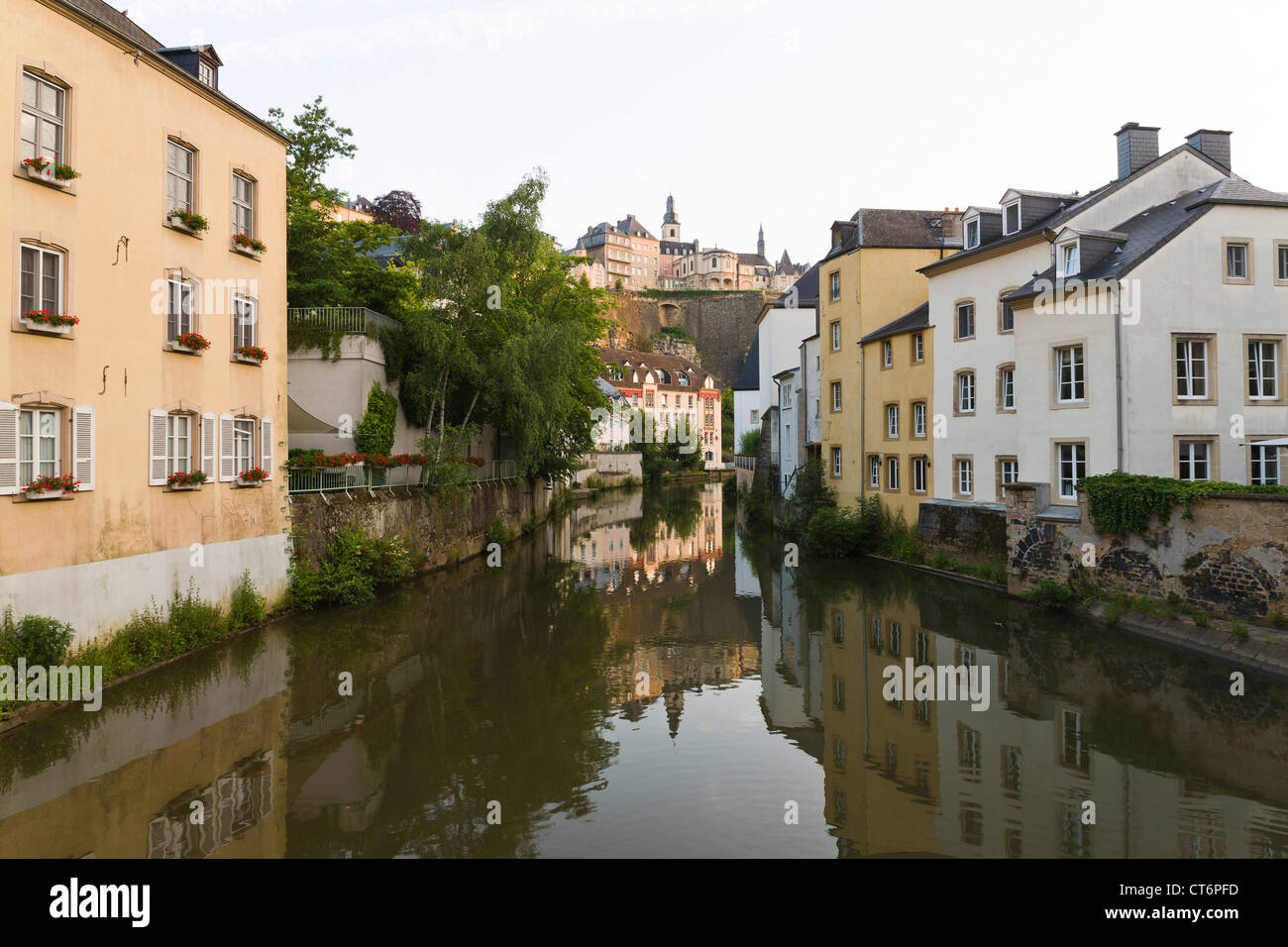 Traditional view from the bridge in the quarter Grund with a Mirror image of the old town of Luxembourg - Stock Image