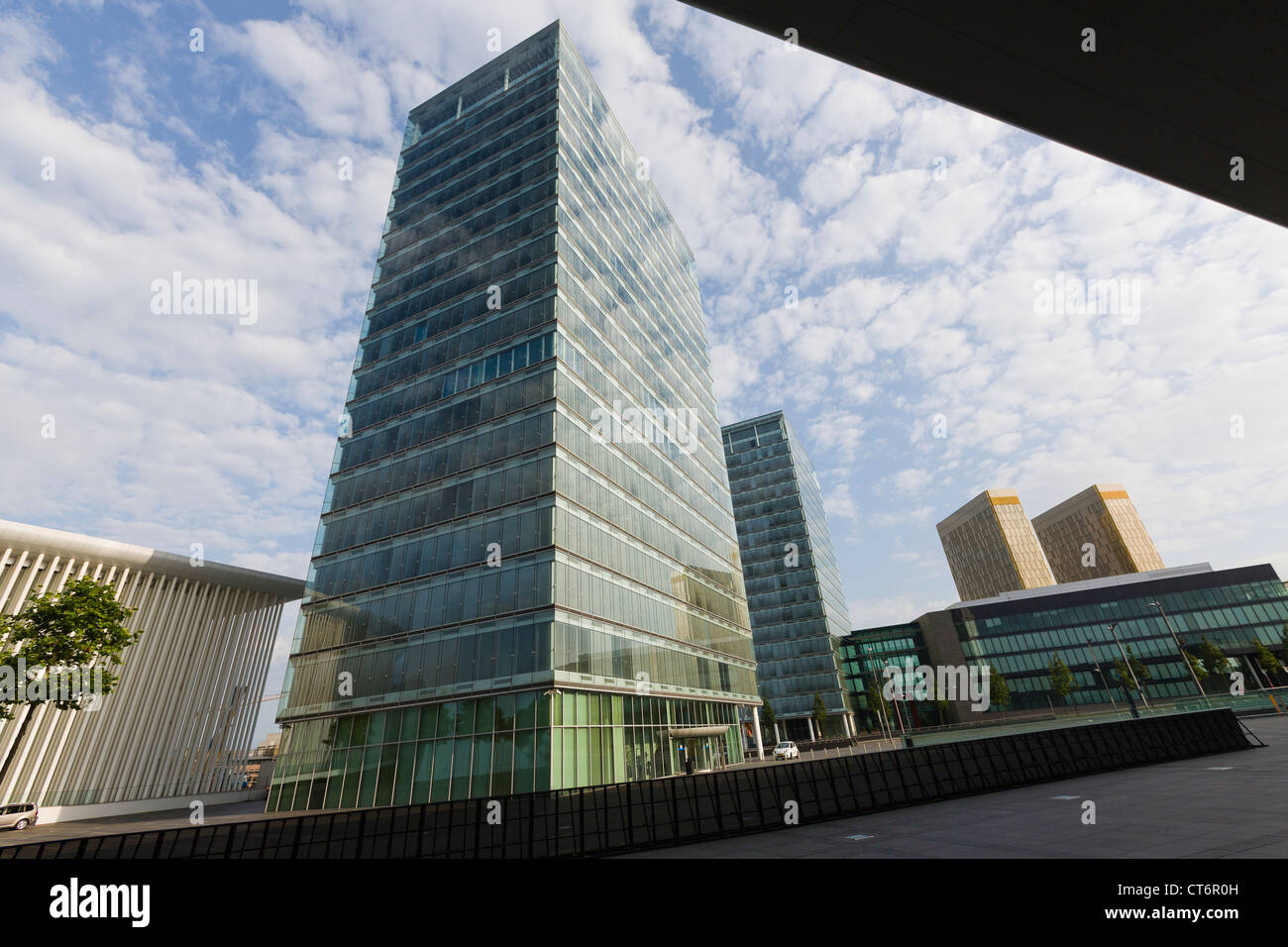 Philharmonie, twin towers and towers with offices of the european court of justice - Stock Image