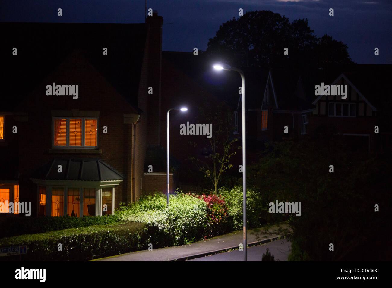 LED street lighting in Redditch, Worcestershire, UK - Stock Image