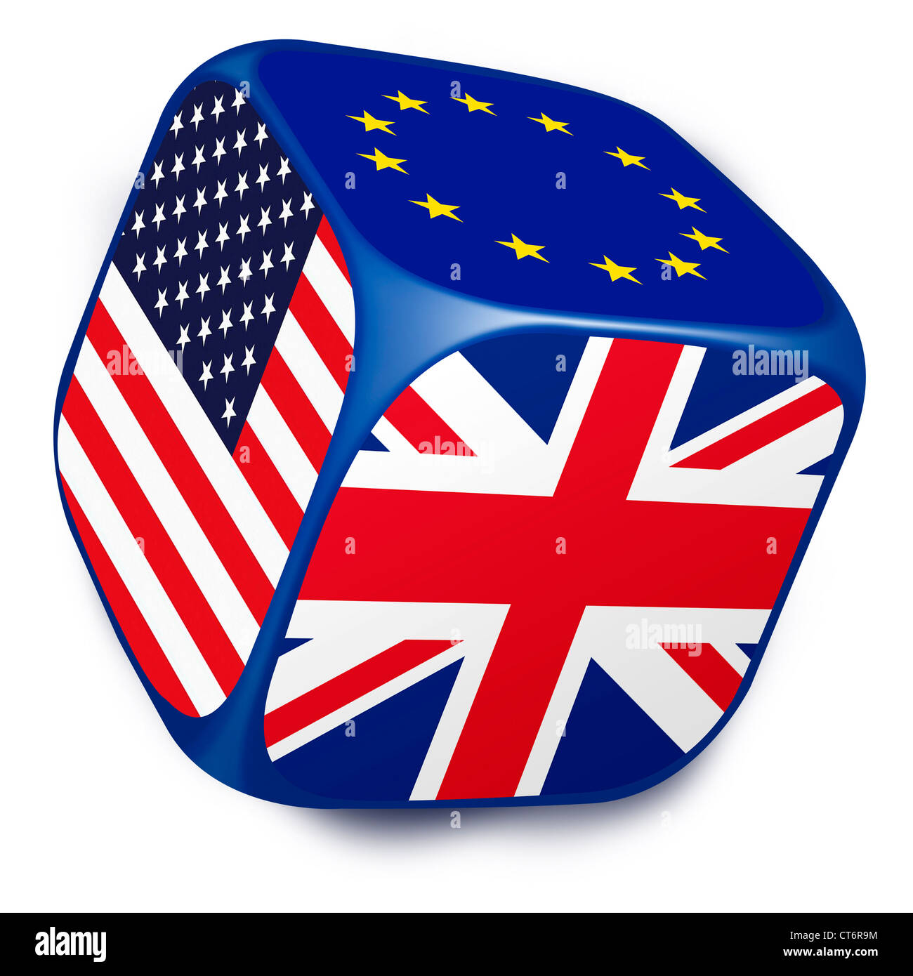Dice with the flags of the European Union, UK and United States of America on each of it's sides. White Background - Stock Image