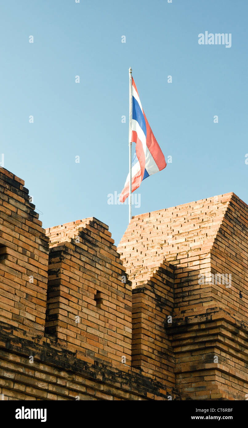 flog of thailand flying over the wall in chiang mai - Stock Image