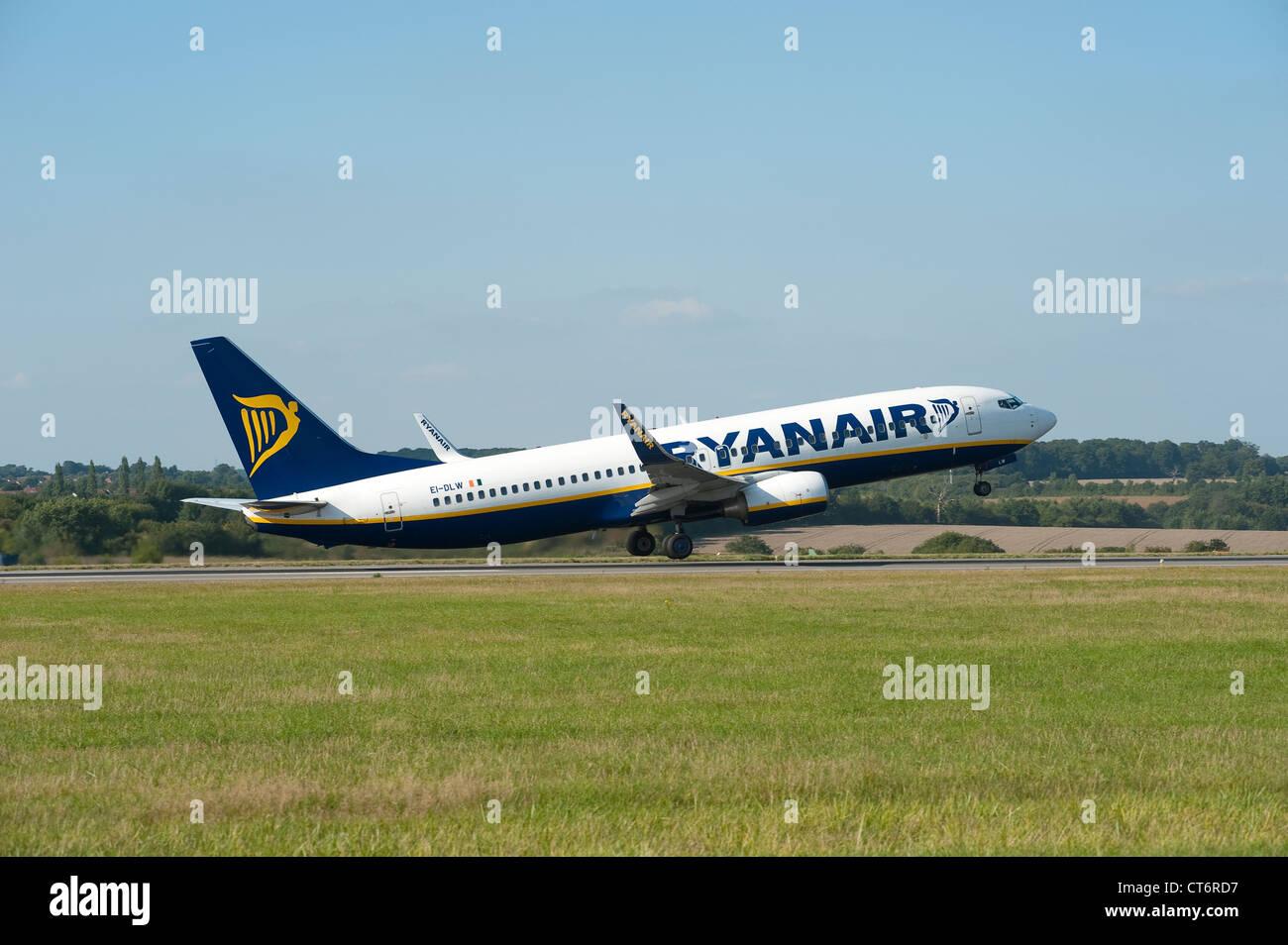 Ryanair Boeing 737-8AS aeroplane taking off at Luton Airport, England. - Stock Image
