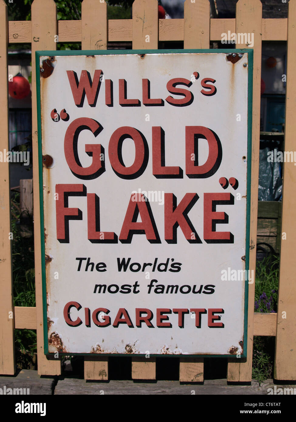 Vintage metal advertising sign for Wills's Gold Flake Cigarettes, UK - Stock Image