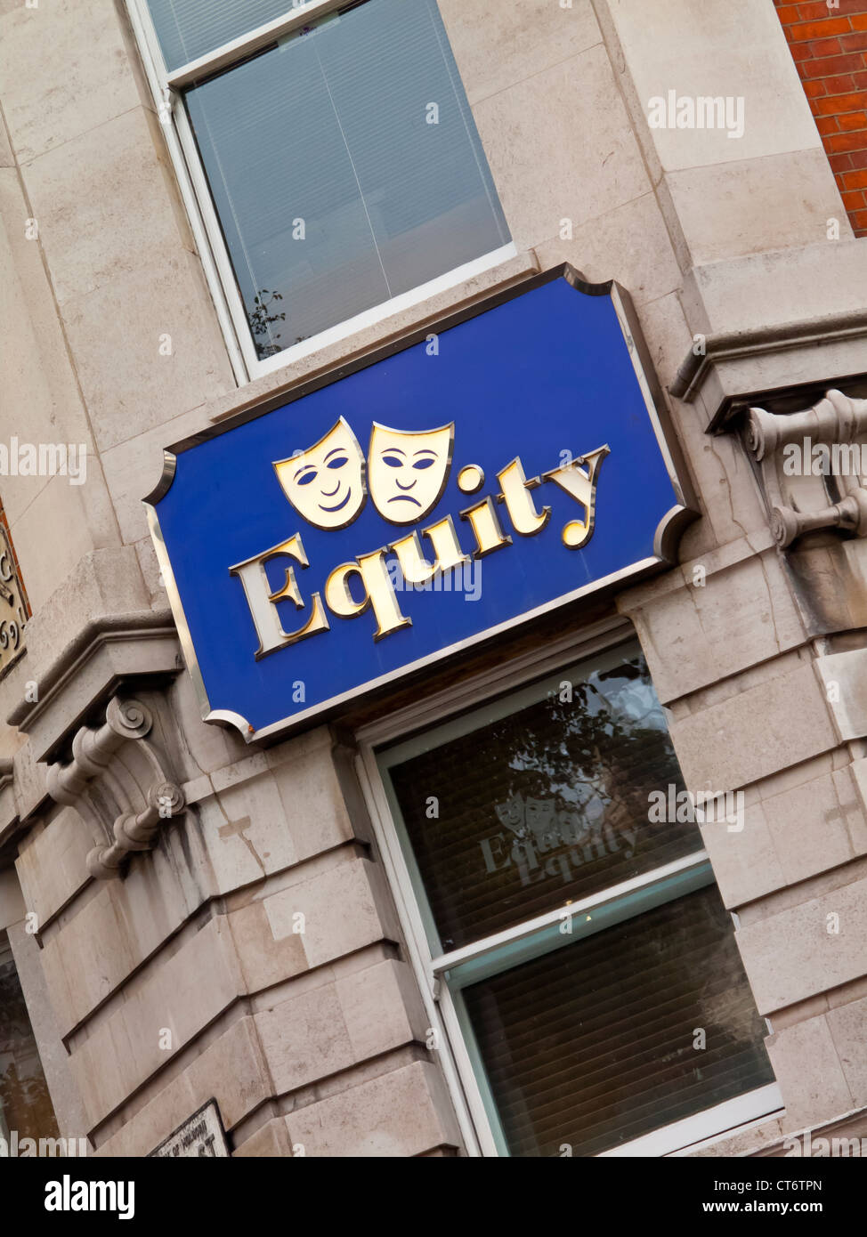 Sign outside the headquarters of Equity the British actors trade union in central London - Stock Image