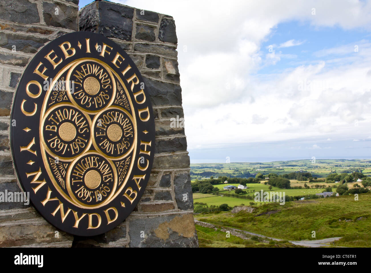 Commemorative plaque to the Welsh poets of Mynydd Bach, Ceredigion. - Stock Image