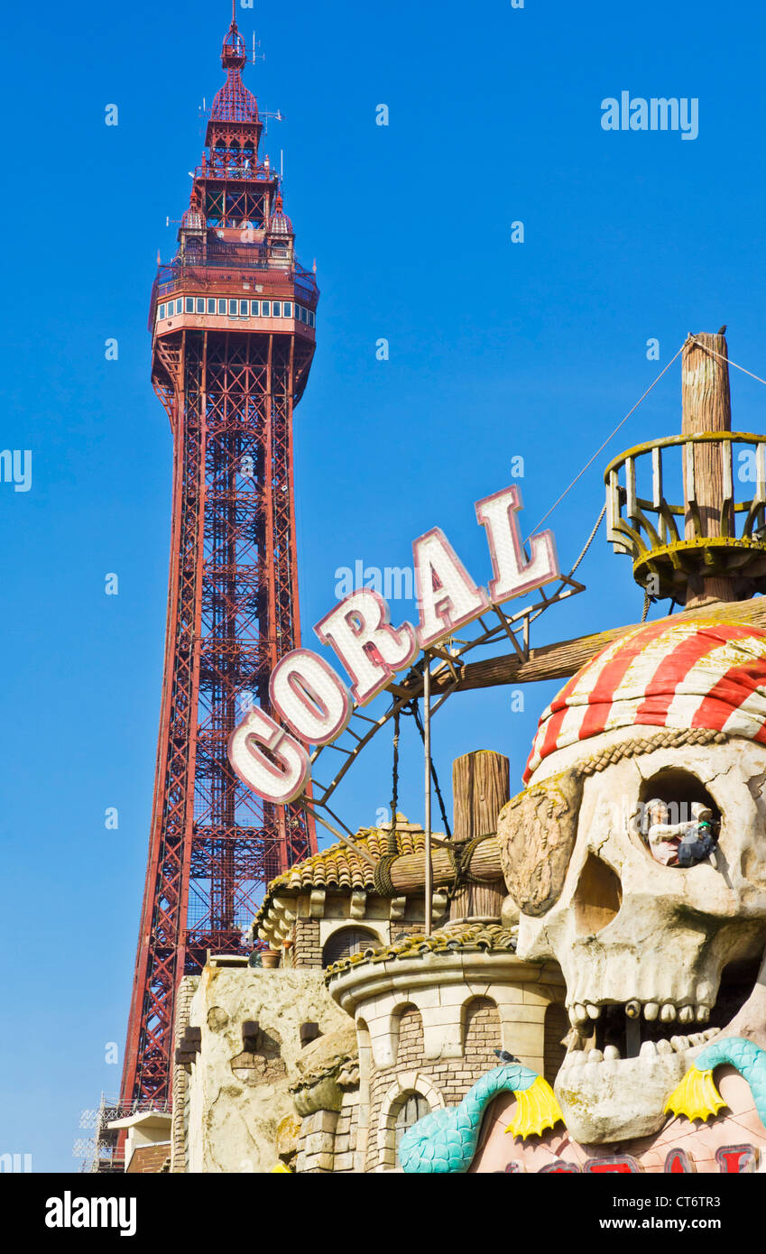 Blackpool Tower With Seafront Amusements And Fairground Ride Coral