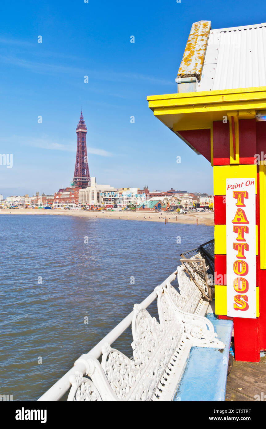 Blackpool tower seafront and beach from the Central Pier Blackpool Lancashire England GB UK EU Europe - Stock Image