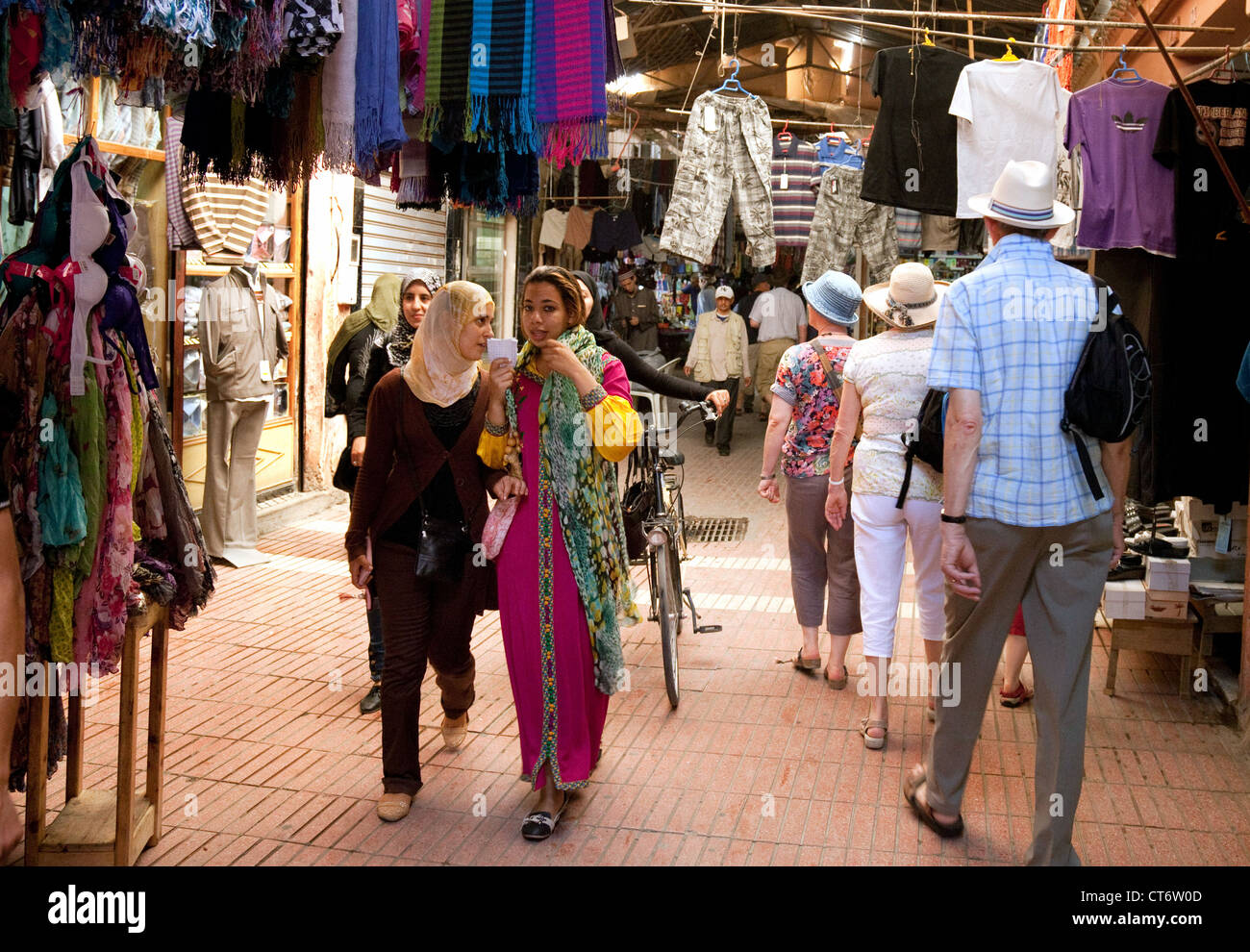 Tourists and local people shopping  in the souk, Taroudant, Morocco Africa - Stock Image