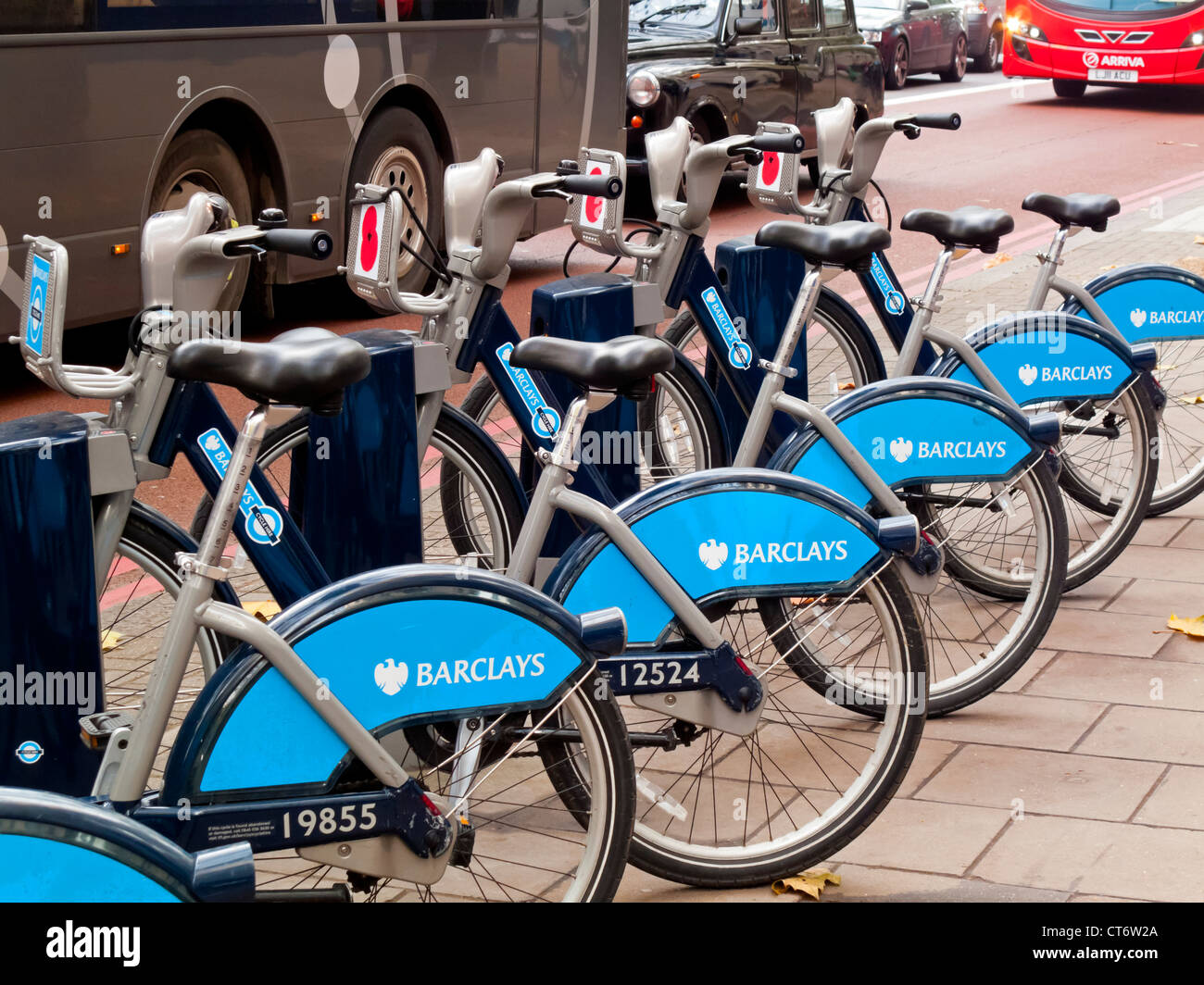 Barclays Cycle Hire BCH bicycle share bikes parked in central London UK also known as Boris Bikes after the mayor - Stock Image