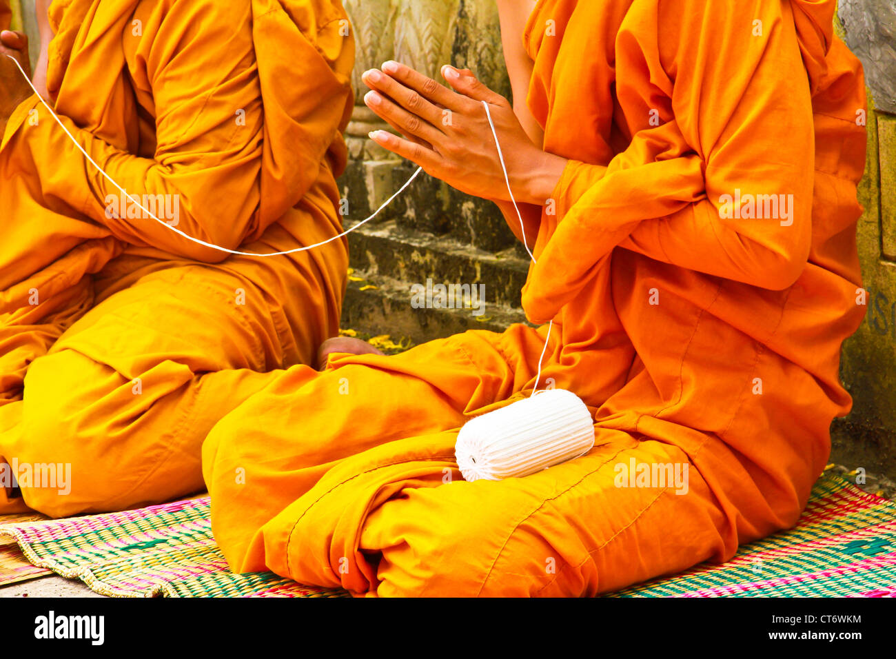 The monks and religious rituals in thai temple - Stock Image