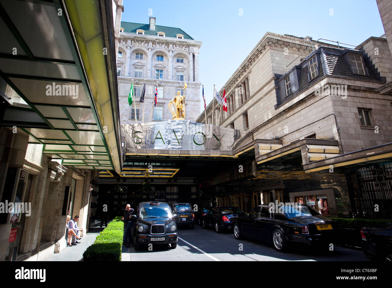 Savoy Hotel, Savoy Court, Strand, Central London, England, United Kingdom - Stock Image