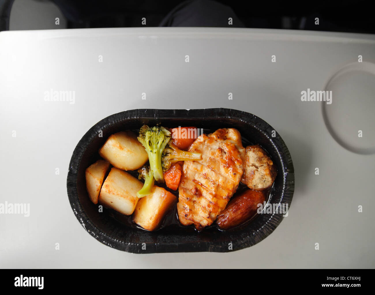 Airline in flight meal on Thomas Cook charter flight. - Stock Image