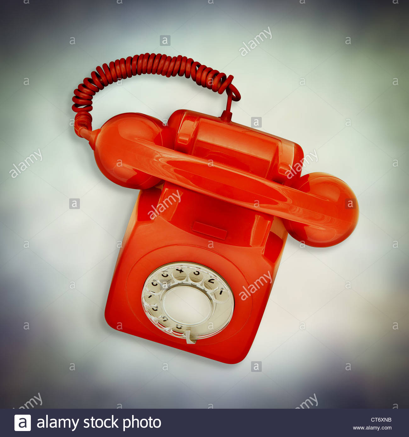 red retro telephone - Stock Image
