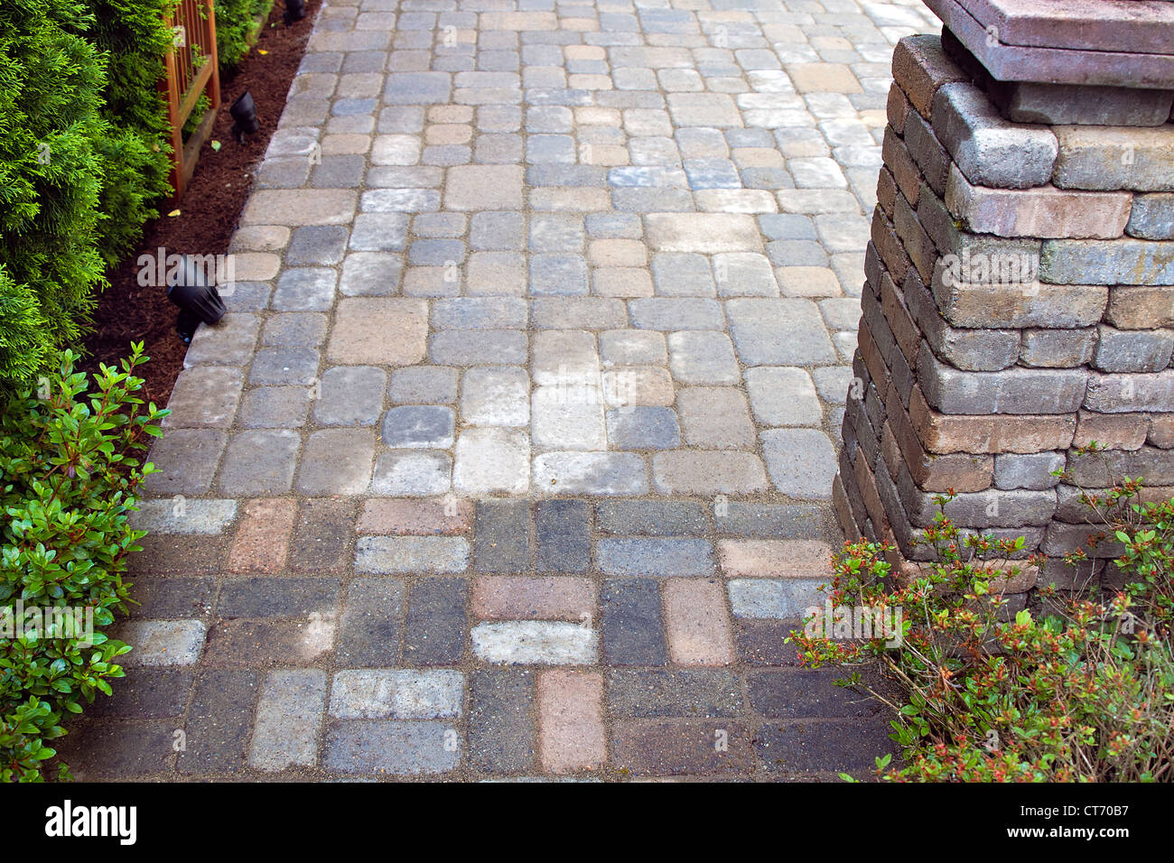 Backyard Garden Landscaping Hardscape With Cement Pavers Patio   Stock Image