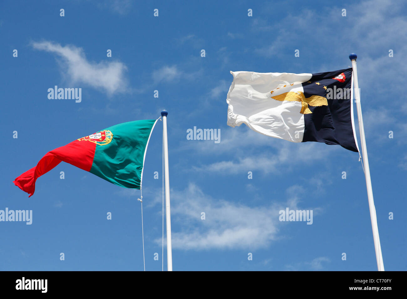 Flags of Portugal and Azores islands - Stock Image