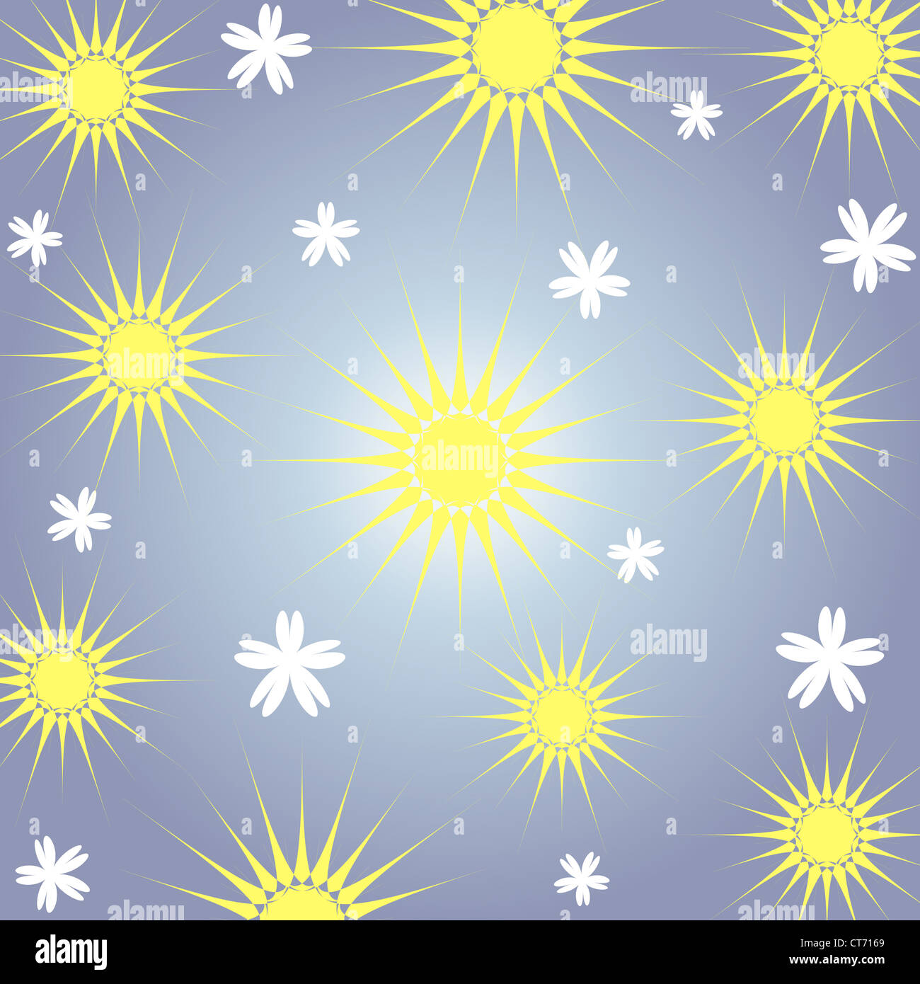 Seamless artistic stars and flowers pattern Stock Photo