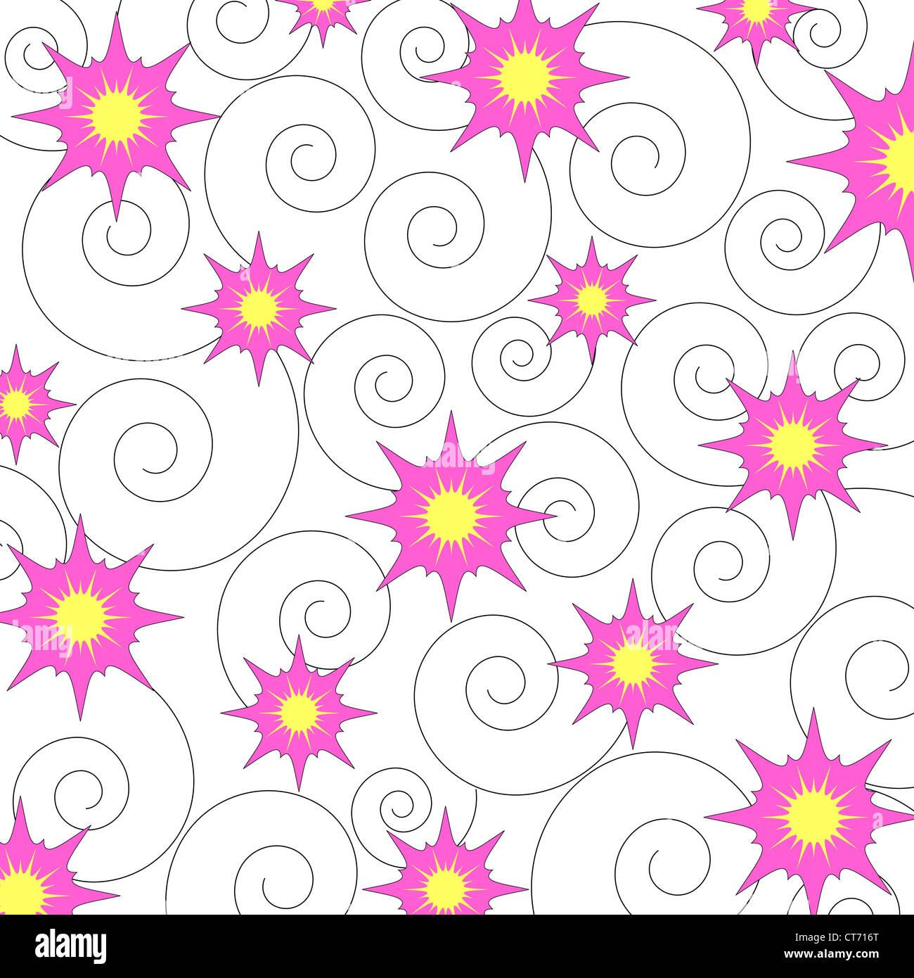 Seamless stars and swirls pattern Stock Photo