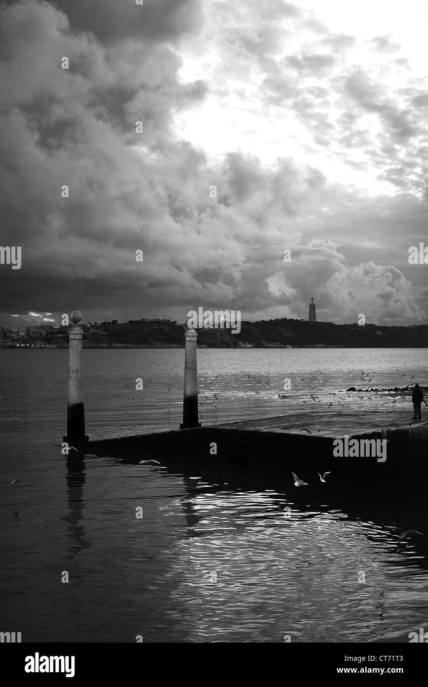 The Tagus River near downtown Lisbon. - Stock Image