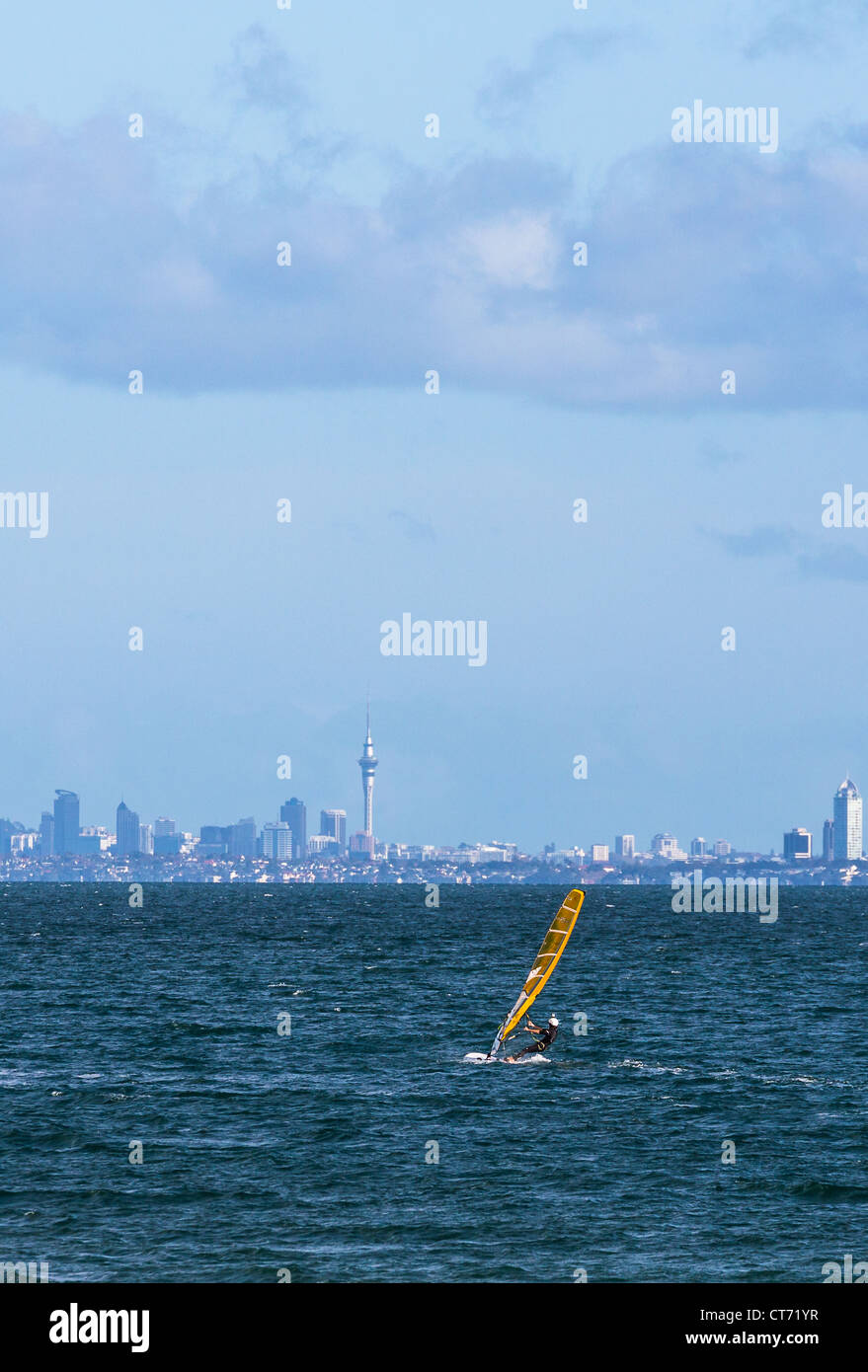 wind surfing cityscape sea sport water - Stock Image