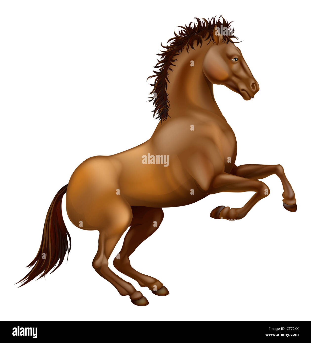Illustration of a powerful brown horse rearing on its hind legs - Stock Image
