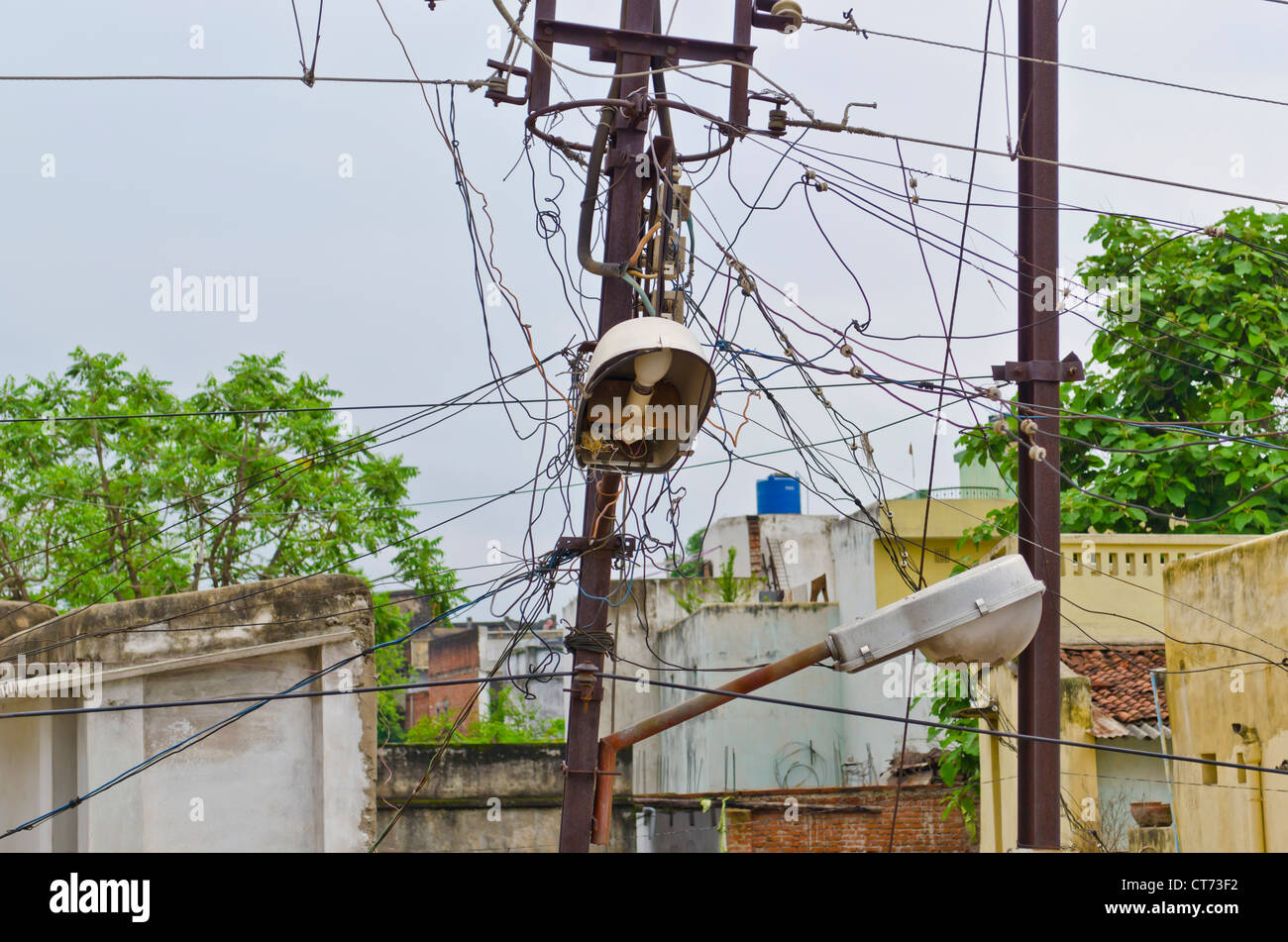 Messy Wiring India Switch Diagram Data Closet Electric Pole With Wires In An Indian Street Stock Photo Rh Alamy Com Cable Rack No
