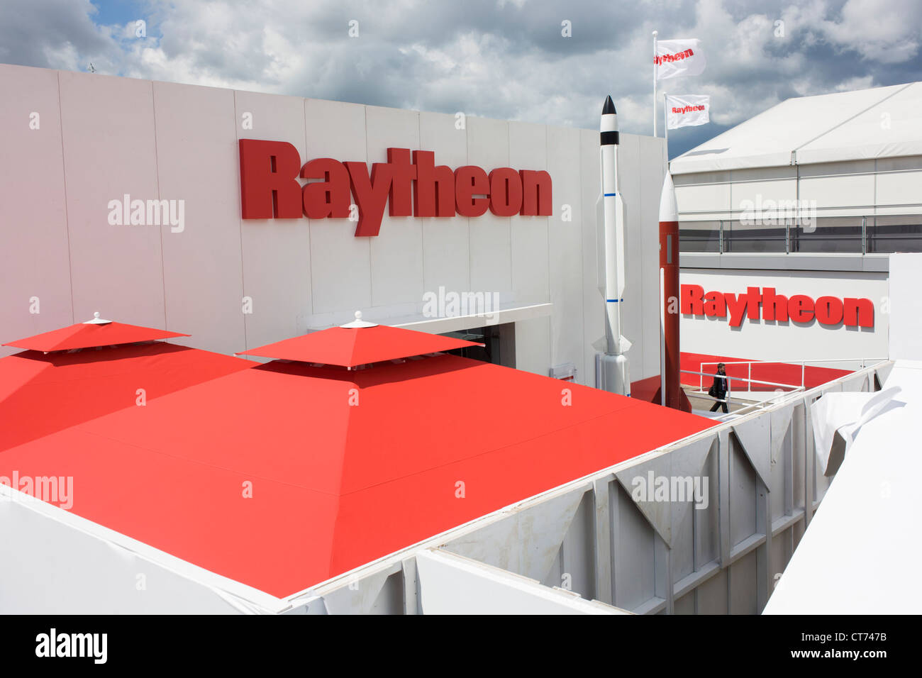Model rockets at the Raytheon exhibition stand during the Farnborough airshow. - Stock Image